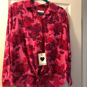 Equipment rose print silk blouse